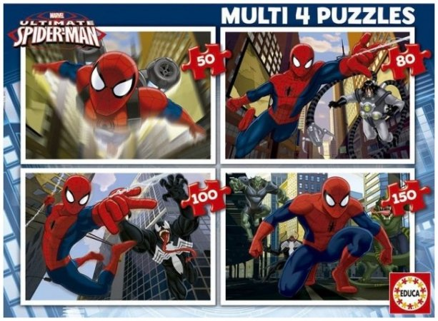 Educa Puzzle 4v1 - Ultimate Spider - Man -  50, 80, 100 a 150 dílků